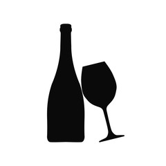 Bottle of wine and wineglass icon, logo, sign, emblem – vector