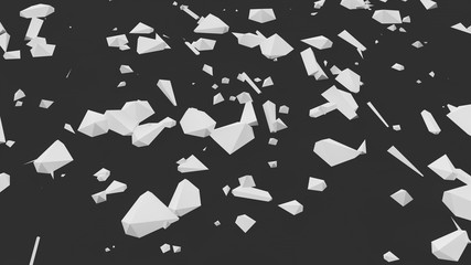 abstract image of white scattered geometric shapes on a black background, a symbol of chaos and disorder. 3D rendering