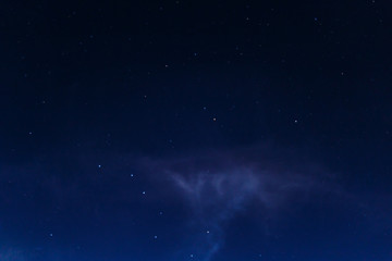 Blue dark night sky with many stars. Milky way cosmos background. The stars in the night sky. Starry blue night sky. Night scape with beautiful starry sky. Star texture. Space background