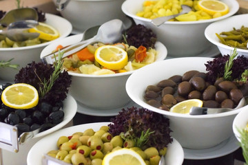 Variety of olives on the buffet in the hotel