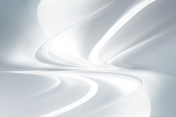 Futuristic white abstract perspective waves on grey backgound