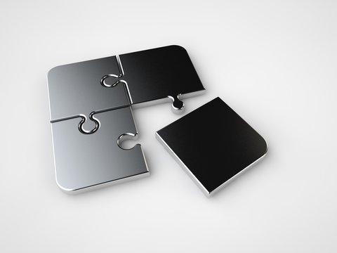 The image is not assembled puzzle, three silver and one gold puzzle the wrong item. A symbol of exclusivity, uniqueness. The image on a white background. 3D rendering.