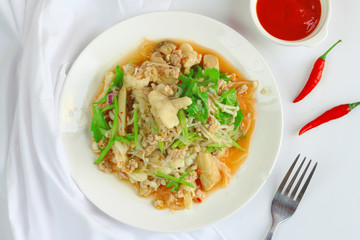 Spicy chicken feet salad with Golden Needle Mushroom and celery