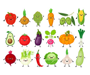 Funny cartoon set of different vegetables. Kawaii vegetables.  S