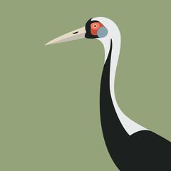 white - naped cranes  head vector illustration flat style