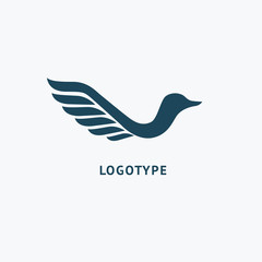 Bird silhouette logo. Vector abstract minimalistic illustration flying fowl. Pigeon icon.