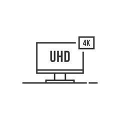 thin line 4k smart tv icon like uhd