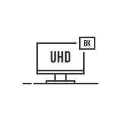 uhd like thin line 8k smart tv icon