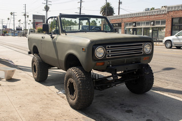 A vintage classic 4x4 truck in the street in Venice, California