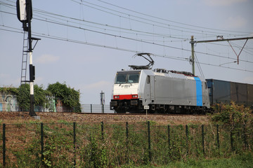 Freight train on the track at Moordrecht heading to Rotterdam in the Netherlands.