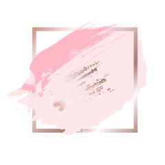 Brush strokes in rose gold pink tones and golden frame background. Vector Illustration