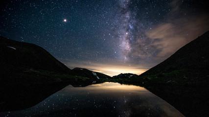 槍ヶ岳、双六池に映る天の川と星座、登山、北アルプス、絶景、日本