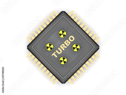 the image of black cpu processor with gold contacts four of sign of