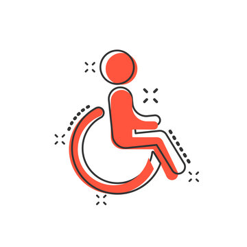 Vector cartoon man in wheelchair icon in comic style. Handicapped invalid sign illustration pictogram. People business splash effect concept.