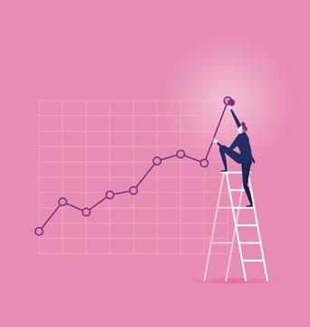 Investor. Businessman climbing up on a ladder
