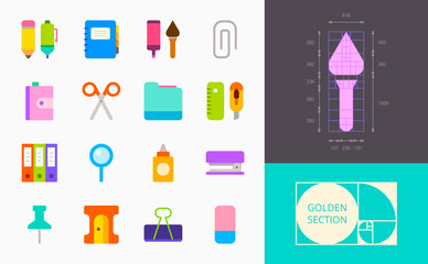 color stationery icons on a white background