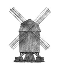 Drawing of an Antique German Windmill Isolated on White