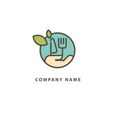 Abstract food logo icon vector design. Recipe, diet, cooking, cafe, restaurant, vegan, gmo, gluten free fresh food vector logo. Editable Design. Leaf and cutlery logo. Cooking food, menu web icon.