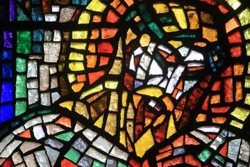 Vitrail de Paul Bony et d'Alexandre Cingria (1879-1945). Eglise Notre-Dame des Alpes. Stained glass by Alexandre Cingria. Notre-Dame des Alpes church..