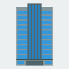 A skyscraper icon. A building, a modern house, an office, an apartment house. Flat style. Vector