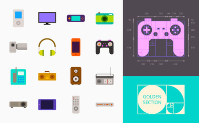 color gadgets icons on a white background