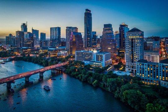 Austin, Texas Skyline At Sunset