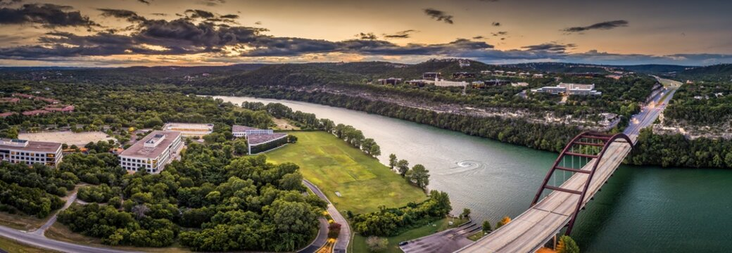 Austin, Texas 360 Bridge Sunset Panoramic