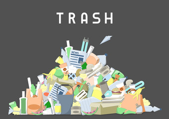littering waste pile. flat style vector illustration