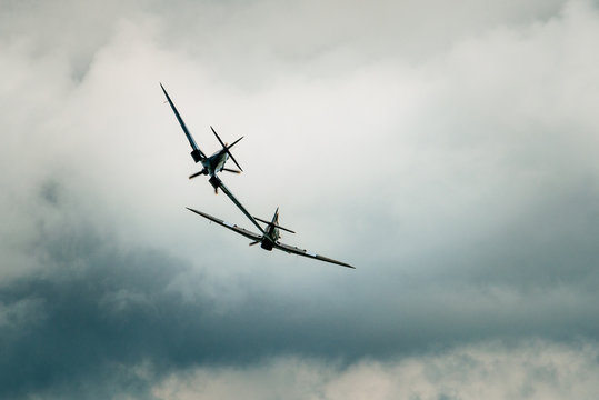 A hurricane and a spitfire during an airshow in Clacton, England