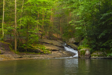 Waterfall Cascading Through The Bedrock Of A Pennsyvania Mountain