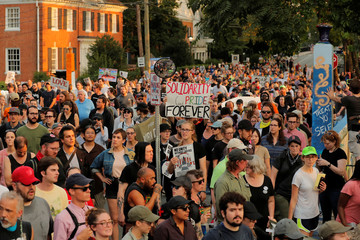 Protesters march at the University of Virginia in Charlottesville