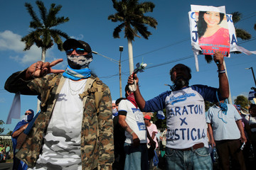 Anti-government protesters take part in a protest to demand the release of demonstrators detained during recent protests against Nicaraguan President Daniel Ortega's government in Managua