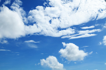 Blue sky background with white clouds in good weather day for nature background and design.