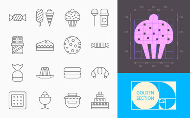 line confection icons on a white background