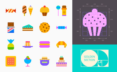 color confection icons on a white background
