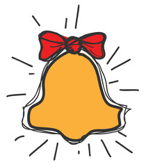 School bell with red bow knot drawing icon