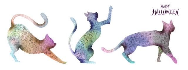 ハロウィーン 黒猫シルエット