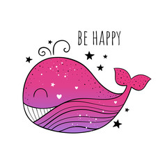 Vector illustration of a Cute whale.Scandinavian motives. Cartoon background. Emoji