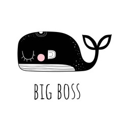 Vector illustration of a Cute whale.Scandinavian motives. Cartoon background. Emoji