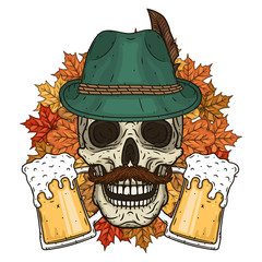 Vector illustration of oktober fest. Skull in Tyrolean hat.