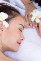 Portrait of beautiful asian people with close up view and close up eyes. Beauty, healthy, spa and relaxation concept.
