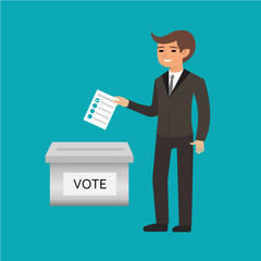 Voting election with man silhouette putting vote paper in the ballot box. Candidate elections. Presidential elections. Vector illustration
