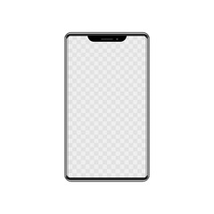 Realistic modern mobile phone on white background. Vector illustration