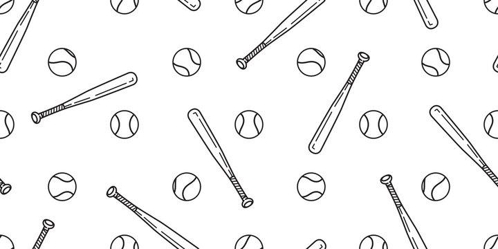 baseball Seamless pattern vector softball baseball bat scarf isolated tile background wallpaper isolated white