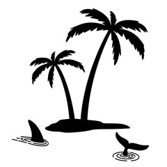 Shark fin vector icon island palm tree coconut logo dolphin character illustration symbol graphic