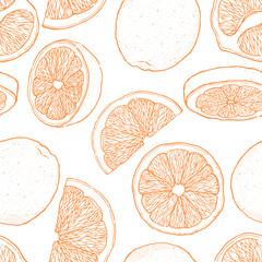 Ink hand drawn seamless pattern of orange fruit. Food element collection. Vintage sketch. Black outline.