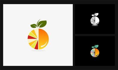 fruit orange 3d icon logo