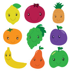 Fruit and berry collection. Vector cartoon smiling characters. Colorful cute set. Fresh healthy food.  Funny lemon, apple, pear, grape, garnet, pineapple, banana, mandarin, plum