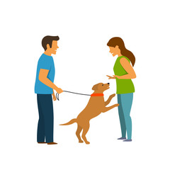 excited dog jumping on people, obedience pet training graphic scene