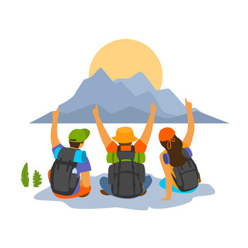 group of young people friends celebrating successful hiking expedition vector illustration scene